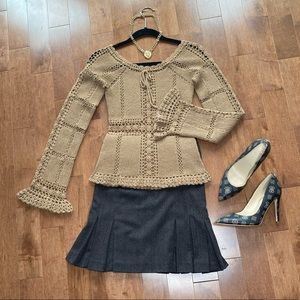 Tan peplum crochet top sweater